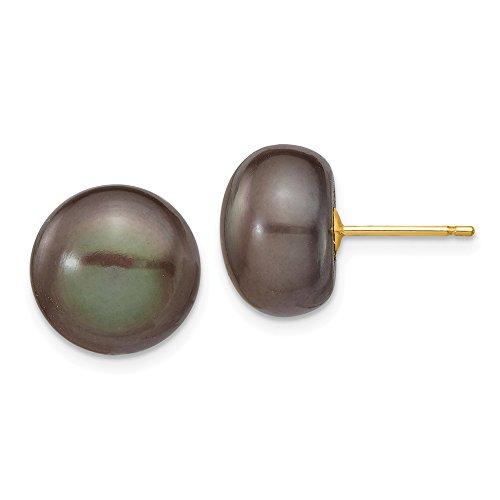 14k Yellow Gold 11-12mm Black Button Freshwater Pearl Stud Earrings 10x11 mm