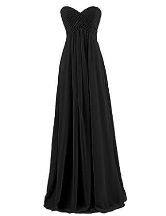 Dresstells Sweetheart Bridesmaid Chiffon Prom Dresses Long Evening Gowns for Juniors Size 2 Black