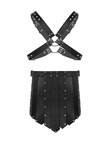 CHICTRY Men's Black Leather X-Shaped Body Chest Harness with Shorts Lingerie Set Black One -