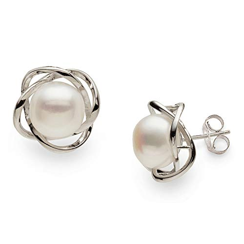 - Four Petal Shaped Earrings | Freshwater Cultured Pearls | Perfect Mother's Day Gift | Sterling Silver Studs | Elegant 9-10mm Size