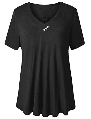 U.Vomade Women's Plus Size Blouses Short Sleeve Shirts Casual Peasant Tunic Tops Solid Black XXXL
