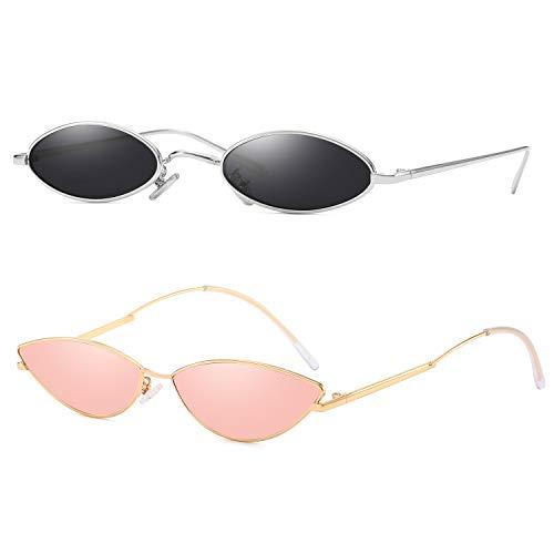 AOOFFIV Vintage Slender Oval Sunglasses Small Metal Frame Candy Colors -