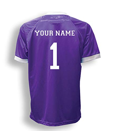 Short Sleeve Goalie Jersey Personalized with Your Name and Number (with free keeper pin) - size Adult M - color Purple (Short Sleeve Goalie Jersey)