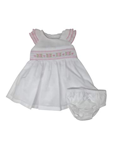 Bonnie Jean Infant/Toddlers White Seersucker Lined Sundress with Eyelet Sleeves and Pink Embroidered Rosettes (6-9 Months)