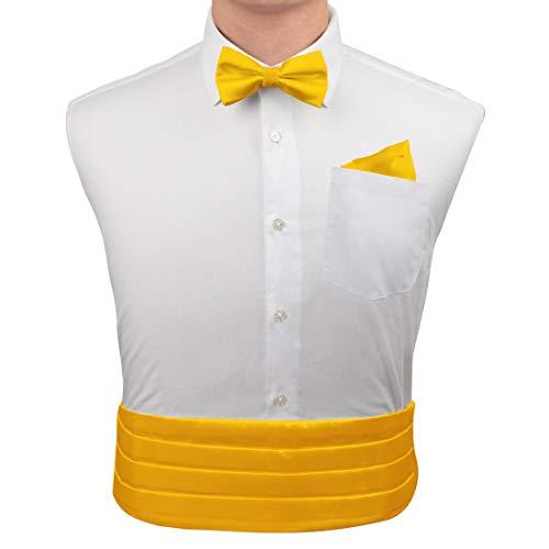 Yellow Silk pre-tied Bow Ties For Men Handkerchiefs Cufflinks and cummerbund Set With Gift Box CM1020  Yellow