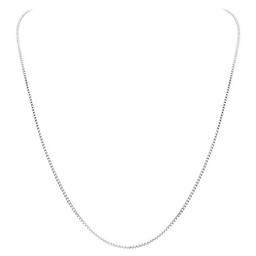Gem Avenue 925 Sterling Silver 1mm Sturdy Box Link Chain Necklace (14