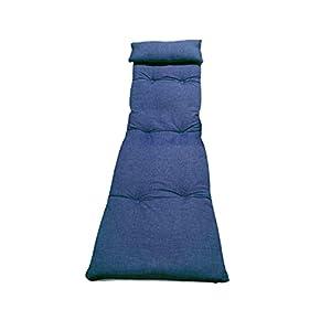 Cojín para tumbonas. Medidas 180 x 55 x 8 cm. Colchoneta para Silla y Tumbona de Playa, Piscina, jardín (Liso Azul)