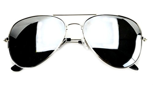 WebDeals - Aviator Full Silver Mirror or Color Mirror Metal Frame Sunglasses (Silver Mirror, ()