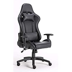 Millhouse Gaming Racing Desk Chair Adjustable Computer Office Chair Lumbar and Head Pillow Chairs X3681 (Black)