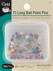 - Dritz Bulk Buy Long Ball Point Pins Size 24 Nickel Plated Steel 75/Pkg 45 (3 Pack)