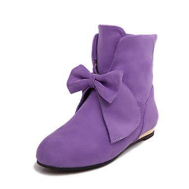 RTRY Zapatos De Mujer Suede Moda Otoño Invierno Confort Novedad Bota Botas Botas De Tacón Plano Ronda Toe Botines/Botines Bowknot Para Office &Amp; US10.5 / EU42 / UK8.5 / CN43
