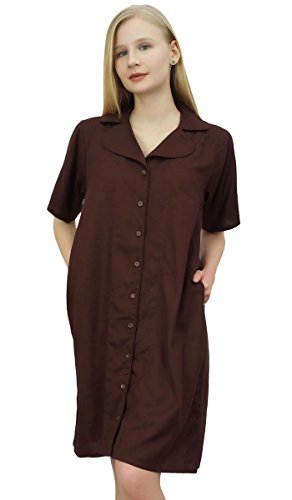 Marrone Shirt collare le tasche Bimba Sleepshirt femminile dentellato Nighty con Rqw1Hxzn