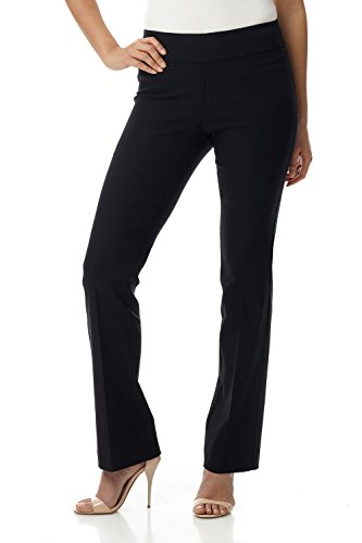 Rekucci Women's Ease in to Comfort Boot Cut Pant (16,Black Texture)