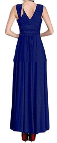 Cromoncent Femmes Balançoire Élégant Cou Sans Manches V Robes Maxi Plissée Bleu Marine