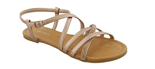 Fabric Ankle Strap - Top Moda Karen-5 Women's Ankle Strap Flat Sandal With Rhinestones (7.5, Rose Gold)