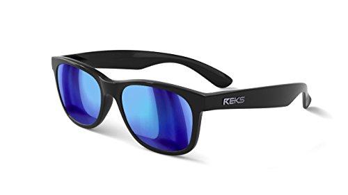 REKS Unbreakable SEAFARER Sunglasses (Satin Touch Black, Blue - Sailing Sunglasses