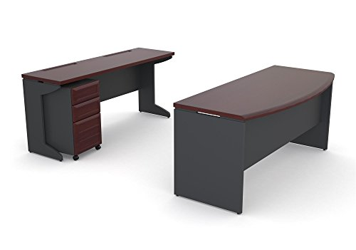 Ameriwood Home 9848196 Pursuit Office Set with Mobile File Cabinet Bundle, Cherry (Sets Executive Desk Furniture)