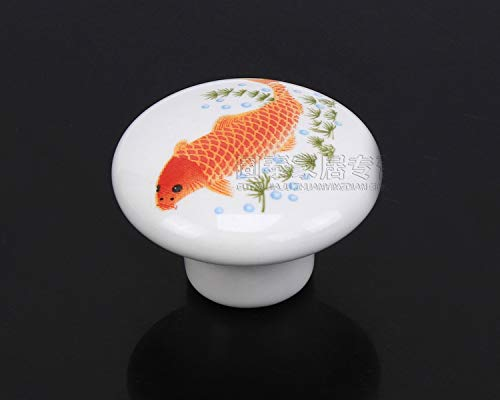 Value-5-Star - Fish printed Ceramic Door Knob For Cupboard/Cabinet/Bathroom/Drawer Great Furniture Ornaments For Nursery/Baby Room