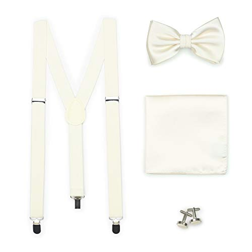 - Bows-N-Ties Men's Set of Matching Solid Color Suspender, Bow Tie, Pocket Square, Cufflinks, Adjustable Length (Cream)