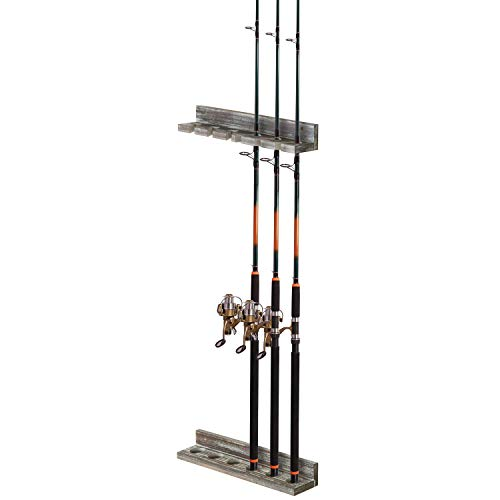 MyGift 6-Rod Torched Wood Vertical Fishing Pole Wall Storage Rack ()
