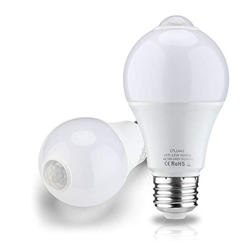RAYHOO 12W Motion Sensor LED Light Bulb,1000 Lumens, E26 E27 A60 Light Bulb with PIR Motion Sensor, for Front Door Garage Basement Hallway Stairs, 6000K White, 2-Pack