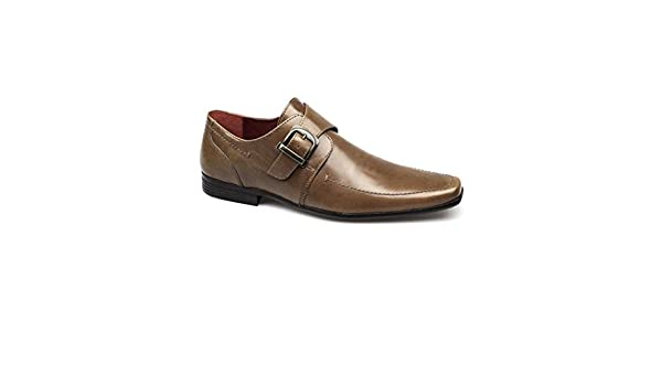 Red Tape mersey 2 Marrón Punta de cincel Hebilla de Piel Para Hombre Comfy Formal Zapatos de Oficina, Color Marrón, Talla 41 EU