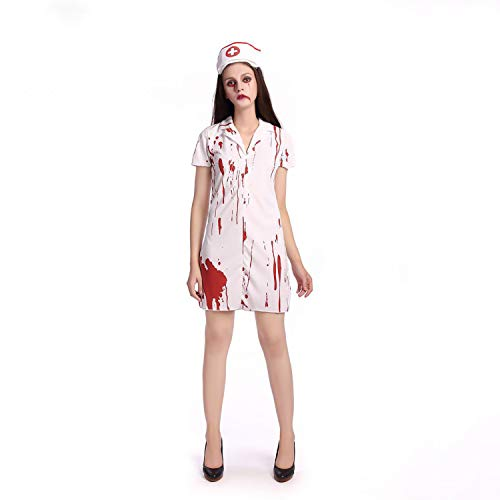 YRE Halloween Ghost Festival Horror Bloody Nurse Costume, Lady Costume Prom Mujer Enfermera Juego De rol Zombie Costume