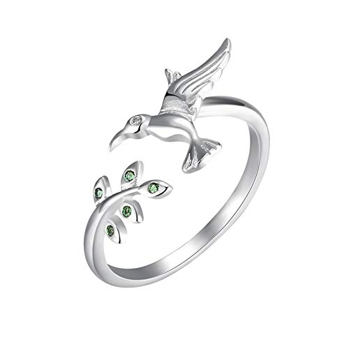 Adorable Flying hummingbird Green Crystal Tree branch Charm Rings Sterling Silver CZ Adjustable Band Ring For Girls