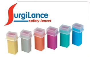 SurgiLance Needle Safety Lancet, 2.2mm, Orange, 100/Bx