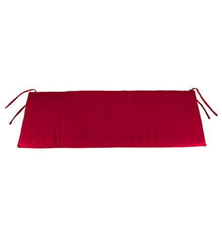 Classic Polyester Outdoor Swing/Bench Cushion, 57'' x 18.75'' x 3'' - Barn Red by Plow & Hearth