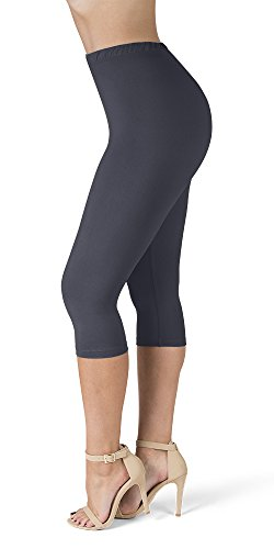 SATINA High Waisted Ultra Soft Capris Leggings - 20 Colors - Reg & Plus Size (One Size, Charcoal)