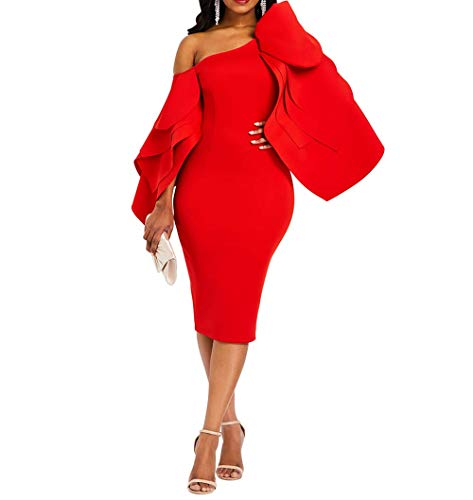 VERWIN Bodycon Dress for Woman Long Sleeve Knee-Length Ruffle Sleeve Off Shoulder Evening Dress M Red