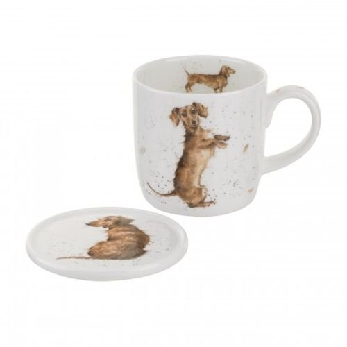 Royal Worcester Wrendale Designs Sausage Mug & Coaster Set