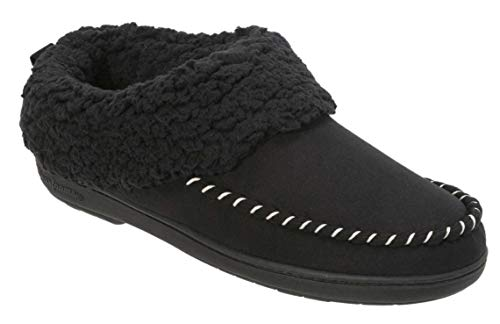Dearfoams Women's Microsuede Clog Memory Foam Slipper with Whipstitch (Medium, Black) ()