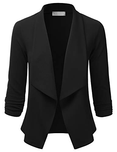EIMIN Women's Lightweight Stretch 3/4 Sleeve Blazer Open Front Jacket Black S