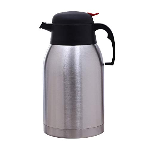 (Stainless Steel Coffee Jug, Double Walled Vacuum Tea Carafe, 2 Litre Insulated Vacuum flask Thermal Coffee Tea Pot, Heat Cold Retention for Tea Coffee Hot & Cold Drinks(2L,As pictures shown))