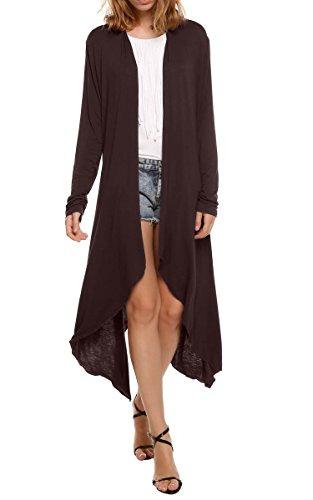Meaneor Women's Long Sleeve Waterfall Asymmetric Drape Open Long Maxi Cardigan,  Medium, Dark Brown - Long Open Cardigan