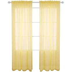 Deconovo Rod Pocket Crinkled Voile Curtains Crushed Sheer Window Curtains for Girls Room 52x63 Inch Yellow 2 Panels