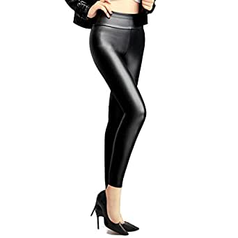 Ginasy Women's Slim Wet Look High Waist Thin Faux Leather Leggings - Medium