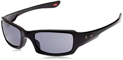 Oakley Men's OO9238 Fives Squared Rectangular Sunglasses, Polished Black/Grey, 54 mm