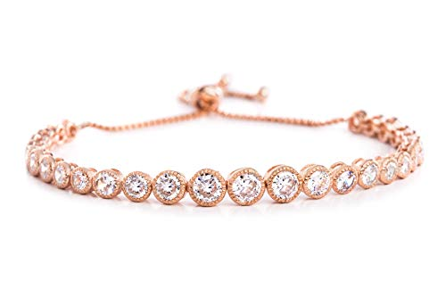 (INSPIRED BY YOU. Round Bezel Set Cubic Zirconia Adjustable Antique Style Bridal Tennis Bracelet for Women in Rose Gold Plated 925 Sterling Silver (Pink))