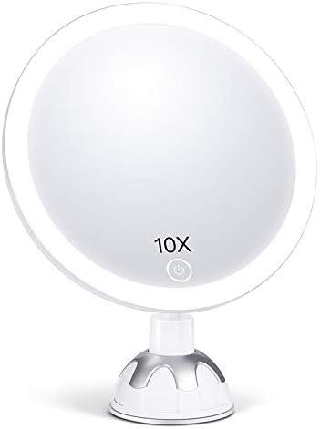 AEVO Schminkspiegel mit licht,10-Fach vergrößernder beleuchteter,10x Kosmetikspiegel, 30-LED Kosmetikspiegel [3 Lichtmodi] [360-Grad drehbar] [Leichte Anbringung]