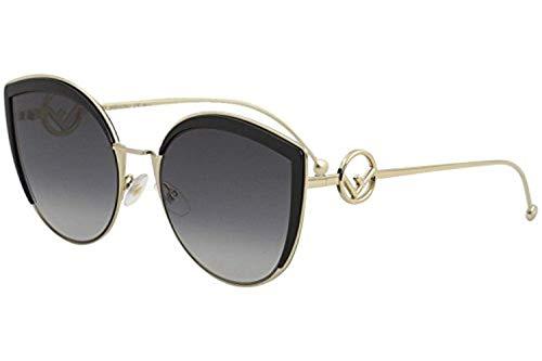 Fendi Women's Round Slight Cat Eye Sunglasses, Black/Dark Grey Gradient, One Size from Fendi