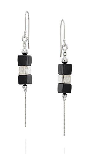 Stera Jewelry Contemporary Design 925 Sterling Silver Black Onyx Gemstone Dangle Earrings