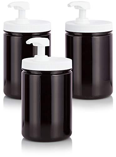 Amber 25 oz PET Plastic BPA Free Large Refillable Jar with Heavy Duty Twist Lock Cream Lotion Pump – 3 pack