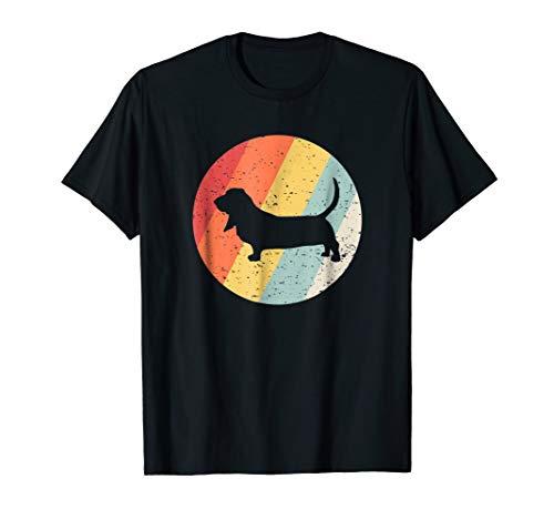 Basset Hound Vintage Retro Dog Breed Silhouette T-Shirt