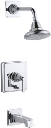 KOHLER K-T13133-4B-CP Pinstripe Rite-Temp Pressure-Balancing Bath and Shower Faucet Trim, Polished Chrome