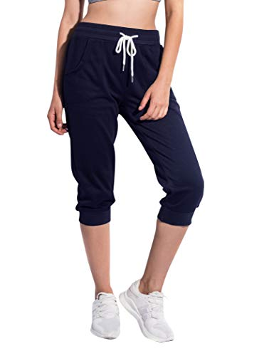 SPECIALMAGIC Women's Sweatpants Cropped Jogger French Terry Running Pants Lounge Loose Fit Drawstring Waist with Side Pockets Navy XX-Large ()