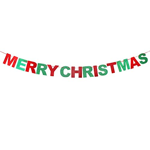 - Merry Christmas Red & Green Glitter Bunting Banner Cheerful Letter House Outdoor Indoor Photo Prop Decoration Sign.