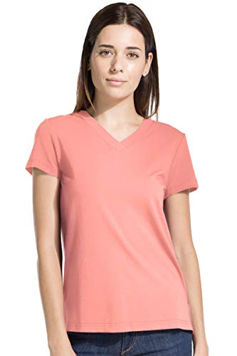 Fishers Finery Women's Ecofabric Short Sleeve V-Neck Tee; Relaxed Fit Coral, ()